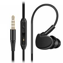 qijiagu 슈퍼베이스 이어폰 3.5mm 스테레오 유선 헤드셋 모바일 마이크 볼륨 컨트롤과 함께 실행하는 귀에 스포츠에서