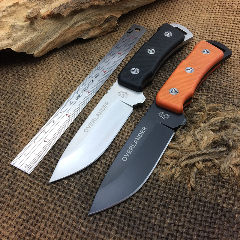 Full Tang Tops Overlander Tactical Fixed Blade Knife 7Cr17Mov Blade G10 Handle Outdoor Straight Knives Survival Multi Tools New