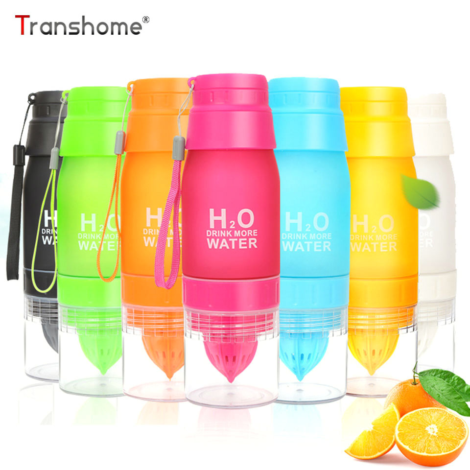 Transhome New 650ml Fruit Infuser Water Bottle H20 Plastic Lemon Juice Bottles With Tea infusion For Sport Travel Outdoor