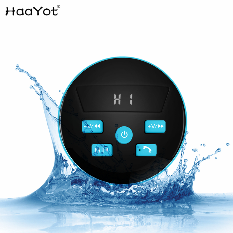 HAAYOT Mini waterproof Wireless Speaker FM Radio Bluetooth 4.2 Build In Microphone Water Resistant Shower Speaker With LED Light speakstick waterproof bluetooth shower speaker talk wireless