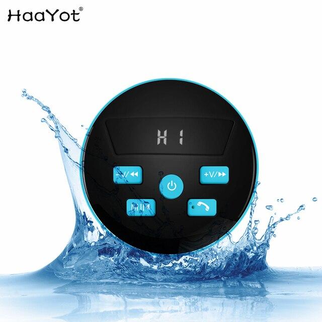 Mini haut parleur étanche sans fil HAAYOT Radio FM Bluetooth 4.2 Microphone intégré haut parleur de douche résistant à leau avec lumière LED