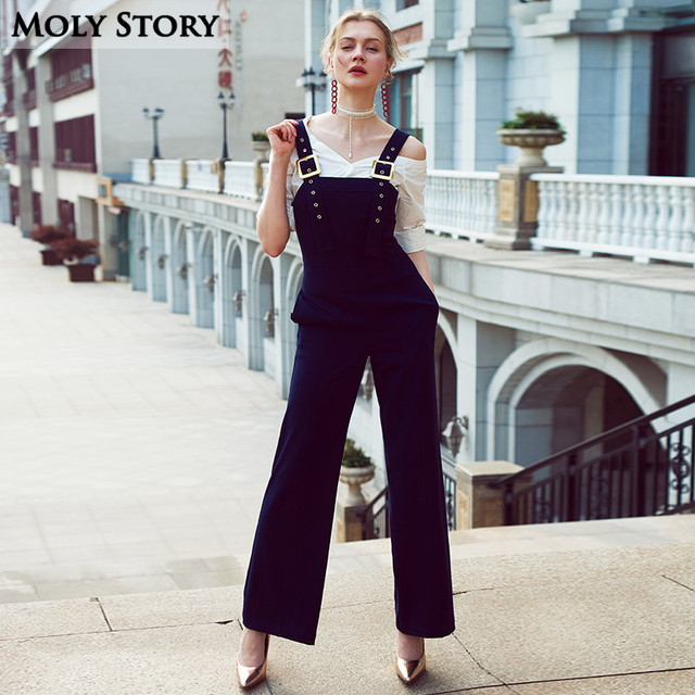 Super! Vintage Elegant Ladies Overalls Women Romper Wide Leg Jumpsuit Harem Pants  Trousers Salopette Femme