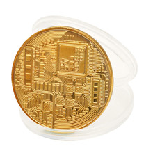 Ship From US ISHOWTIENDA Gold Plated Bitcoin Coin Collectible BTC