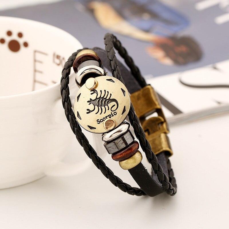 12 Constellation Men Leather Bracelet Male Female 2017 Wristband Charm Friendship Bracelets Bangles For Women Zodiac