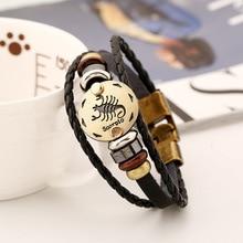 12 Constellation Men Leather Bracelet Male Female 2017 Wristband Charm Friendship Bracelets & Bangles For Women Zodiac Sign Gift
