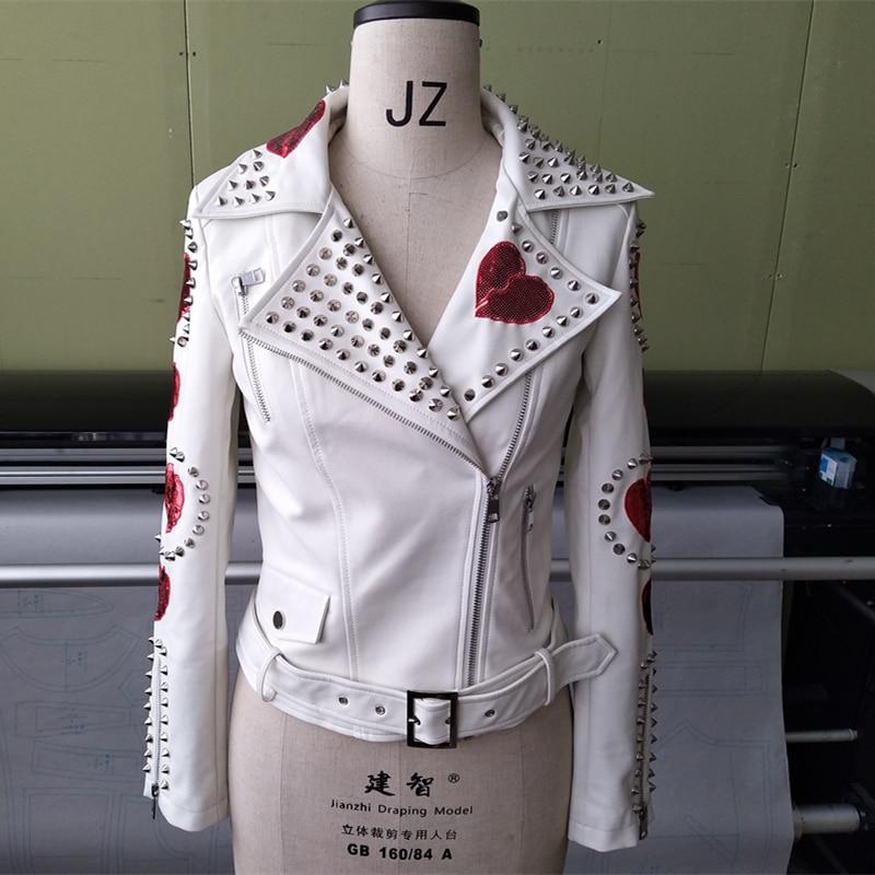 8583910a6a US $89.99 |Jaqueta De Couro Feminino 2019 Autumn New Arrival Leather Jacket  Female Sequins Patch Rivet Decoration Slim Belt PU Leather Coat-in Leather  ...