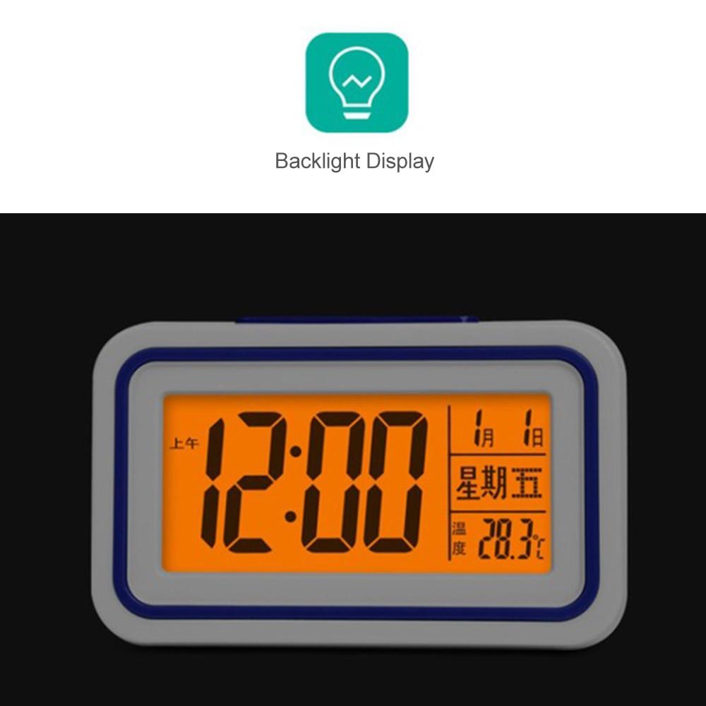 4 cores Quadrado Display LED Eletrônica Digital Alarm Clock Calendário Termômetro Backlight Tempo De Controle De Temperatura