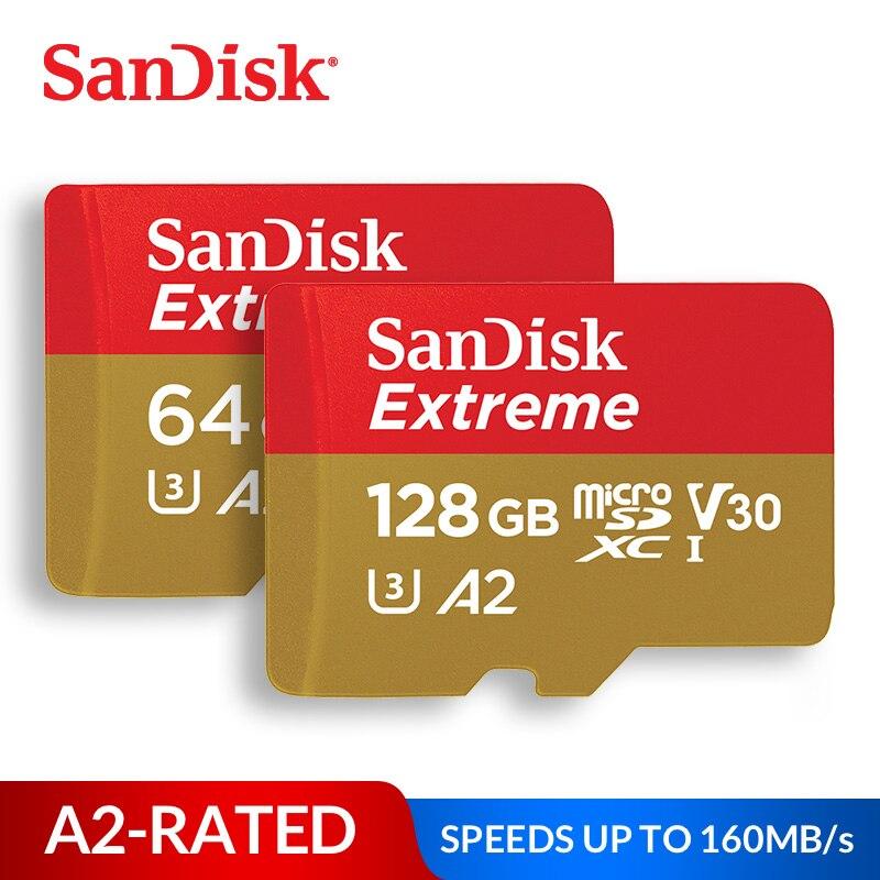 Cartão de Memória SanDisk Extreme Cartão micro SD UHS-I C10 U3 V30 A2 microSDHC/microSDXC Flash 32GB 64GB 128GB 256GB 400GB TF Cartão