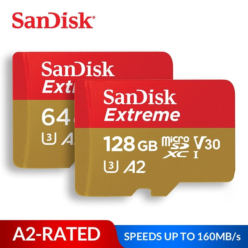 Tarjeta de memoria SanDisk Extreme micro tarjeta SD UHS-I C10 U3 V30 A2 microSDHC/microSDXC 32 GB 64 GB 128 GB 256GB TF tarjeta para Drone con cámara