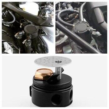 Captura de óleo pode compacto confuso captura de óleo pode universal compacto intrigado 2-port de alumínio captura de óleo pode tanque de combustível de alta qualidade