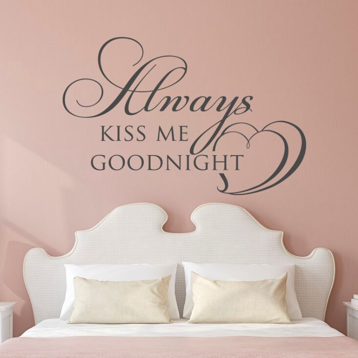 US $4.92 25% OFF|Bedroom Wall Decal Family Home Bedroom Decor Always Kiss  Me Goodnight Wall Decal Quote Design Bedroom Vinyl Wall Poster AY1587-in ...