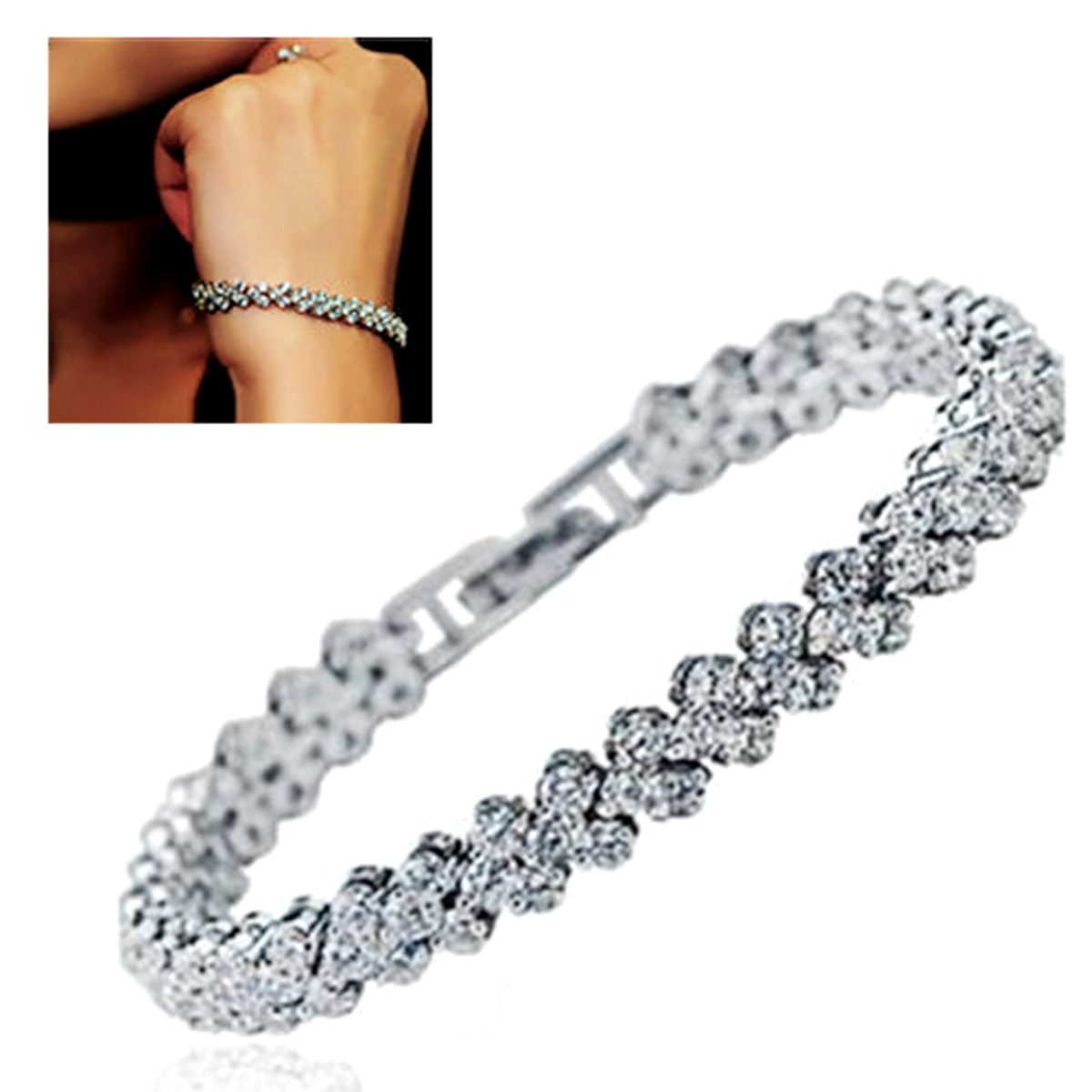 Luxury Vintage Bracelet Crystal Bracelets For Women Charm Silver Bracelets & Bangles Femme Bridal Wedding Fine Jewelry Gift