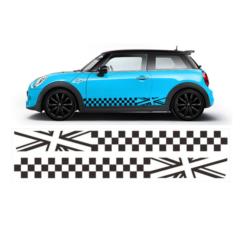 2x автомобиль Стайлинг сторона гоночная юбка в полоску Ограниченная серия наклейки для MINI Cooper R50 R52 R53 R56 R57 R58 R59 F55 F56 F54 - Название цвета: Белый