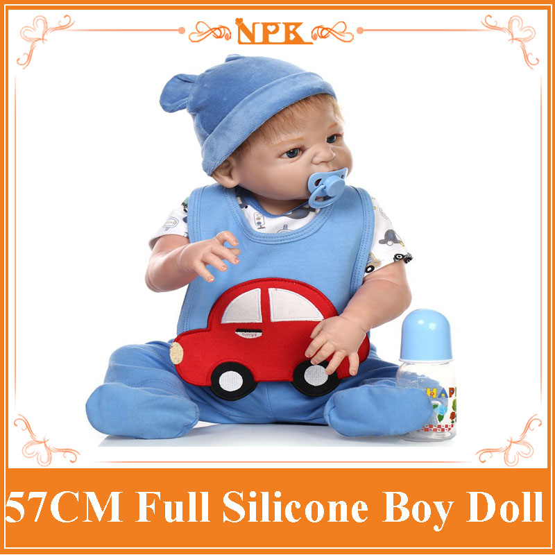 22inch Realistic Full Silicone New Born Baby Doll With Blue Baby Dolls Clothes The Living Real Doll For New Mother To Practice pink wool coat doll clothes with belt for 18 american girl doll
