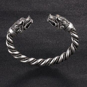 1 pc fait main Norse Viking Ferir père des loups Bracelets 3.5 oz hommes bras anneaux bijoux Antique argent Chunky torsion Bracelets 10