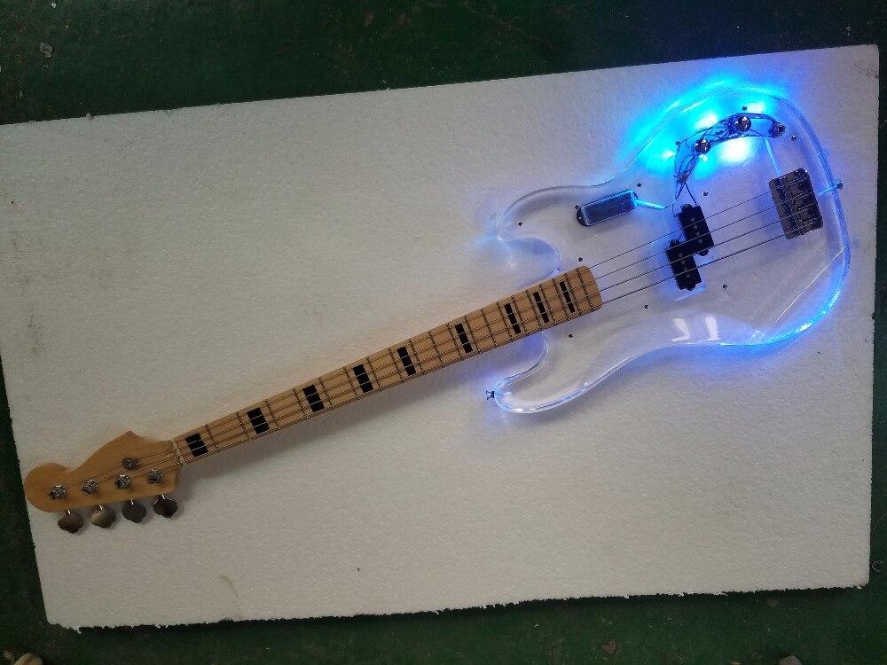 Firehawk usine personnalisé acrylique corps basse 4 cordes Jazz bass avec LED lumières arcrylic guitares instruments de musique boutique