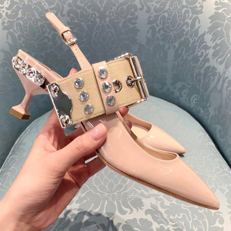 Patent Leather Woman Pumps Kitten Heel Bling Crystal Decor Slingback Shoes Woman Wedding Party Dress Shoes Rivets Belt Buckle