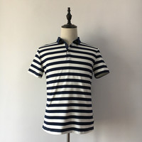 Camisa Polo 2016 Summer Japanese Brand Navy Blue Stripe Men S Short Sleeve T Shirt Slim