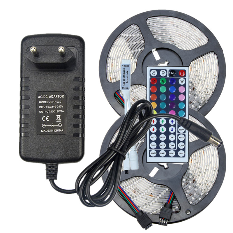 5m 10m rgb led strip kit smd waterproof flexible tape ip65 60ledsm 5m 10m rgb led strip kit smd waterproof flexible tape ip65 60ledsm rope lighting with 44key ir remote controllerdc 12v adapter in led strips from lights aloadofball Choice Image