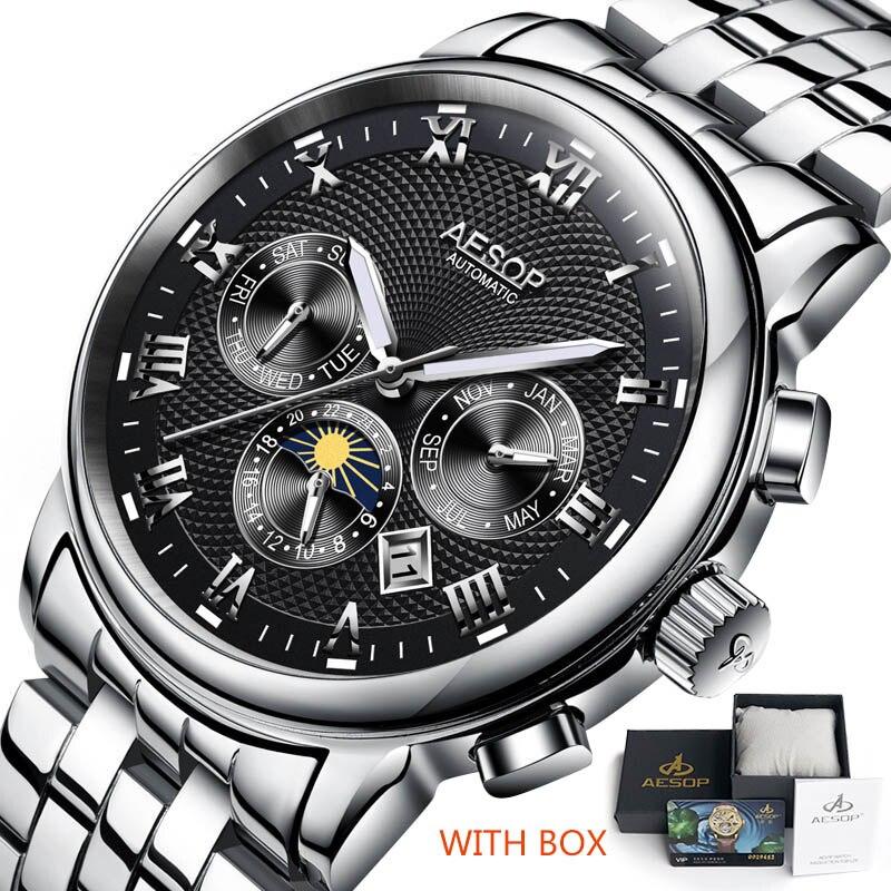 Роскошные Для мужчин часы Эзоп часы Для мужчин синий автоматические механические наручные часы наручные Нержавеющаясталь мужской часы ...
