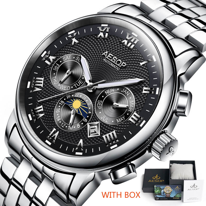 Luxury Men Watch AESOP Watches Men Blue Automatic Mechanical Wrist Wristwatch Stainless Steel Male Clock Relogio Masculino
