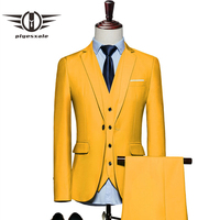 Plyesxale Mens Suits 2018 Slim Fit 3 Piece Groom Wedding Suit 4XL 5XL 6XL Red Yellow Dark Green White Purple Suits For Men Q20