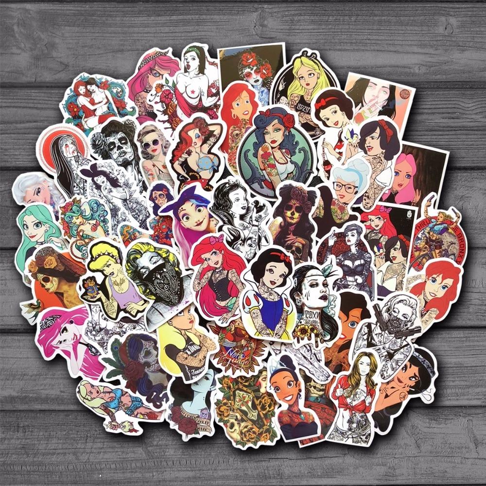 50Pcs Lot Spoof Punk Tattoo Princess Sticker For Kids font b Toy b font Luggage Skateboard
