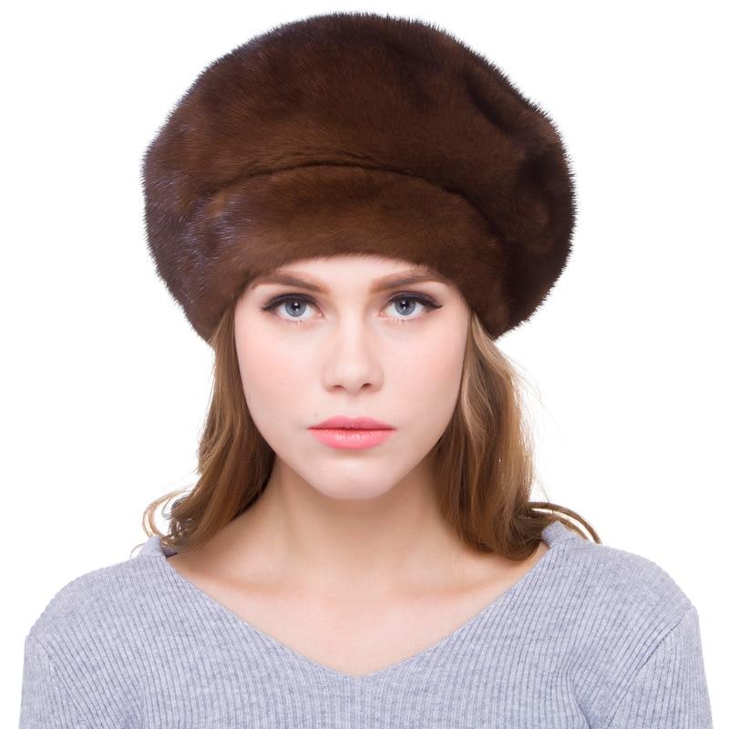 Роскошный русский Для женщин реальные Wholeskin норковые береты Шапки Женская зимняя обувь теплые шапки модные головные уборы LF5097