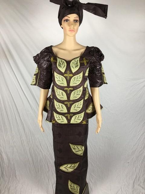 2016 новая африканская базен riche mix отпечатано вышивка платье три шт один комплект с headtie