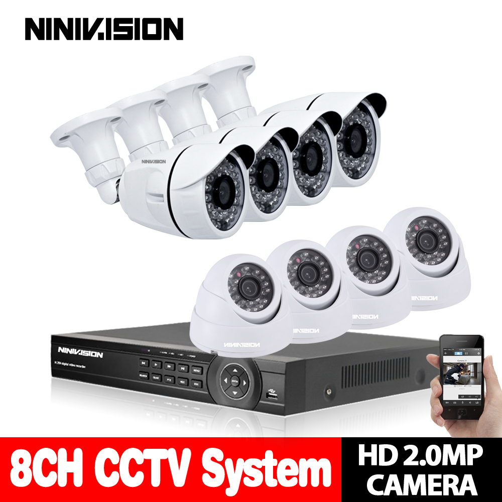 NINIVISION 8CH CCTV System 1080N HDMI AHD 1080P CCTV DVR With 8PCS SONY 2.0MP IR Outdoor Security Camera 3000 TVL Camera kit