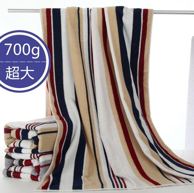 파란색과 흰색 스트립 목욕 타월 두꺼운 비치 타월 뷰티 살롱 타올 유럽 스타일 패션 목욕 타올 180 cm x 90 cm-에서목욕 타월부터 홈 & 가든 의  그룹 1
