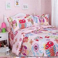 FADFAY kids Owl Bedding Set Cotton Boys/Girls Duvet Cover Sets Twin Size Pink Owl Bed Bedding Sets Cute Cartoon Flat Sheet Sets