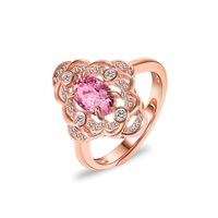 Natural Tourmaline 925 Sterling Silver Rings For Women Fine Jewelry Wedding Engagement Rings Rose Gold Color