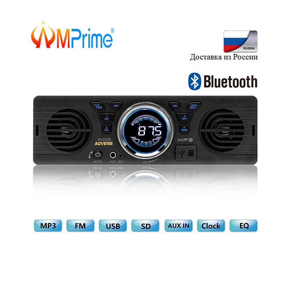 AMPrime 1 1din rádio Do Carro Universal DIN 12V FM MP3 Autoradio Bluetooth Hands-free Chamada Auto com alto falante Estéreo Do Carro In-dash