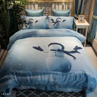 Winnie Queen King 4Pcs Lovely Cartoon Bedding sets 100% Cotton Sanding Duvet cover Bed sheet set hello kitty giraffe Snow Stuff