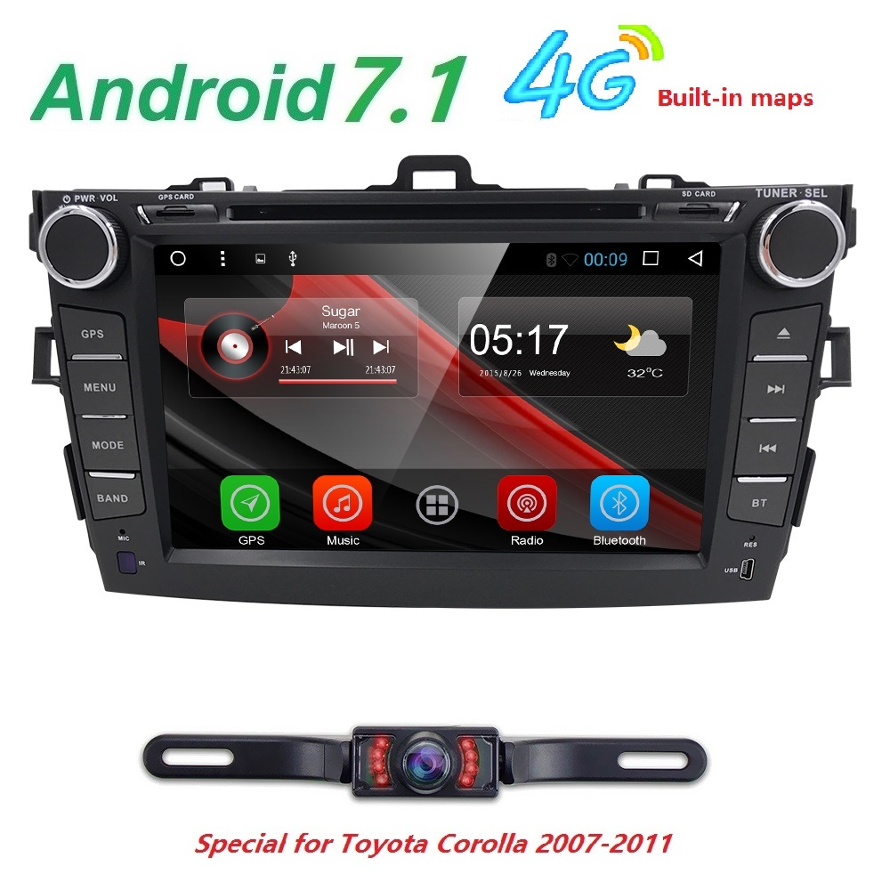 2 din Android 7.1 Car radio Car DVD automotivo head unit For Toyota corolla 2008 2007 2009 2010 2011 Car Audio Multimedia Wifi autoradio 2 din android 7 1 car dvd player for toyota camry 2007 2008 2009 2010 2011aurion 2006 head unit tape recorder wifi swc