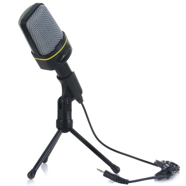 Unidirectional Dynamic Condenser Microphone Recording MIC Volume Control with Tripod Stand Holder for MSN Skype for Computer PC