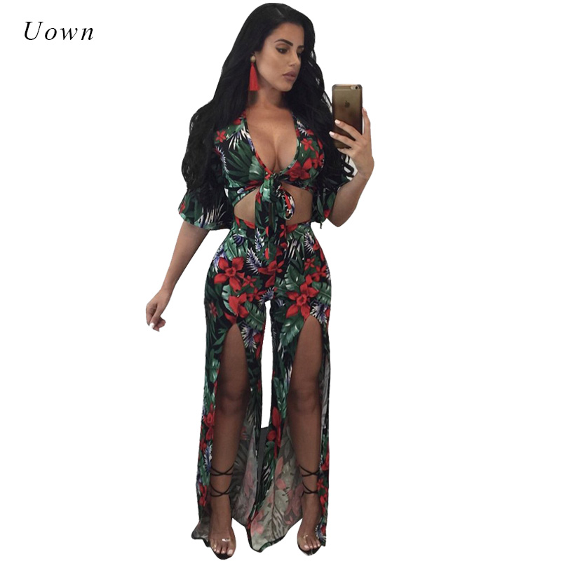 >2019 Boho Sexy Two Piece Set Women Floral Print Flare Sleeve Tie Crop Top and High <font><b>Split</b></font> <font><b>Pants</b></font> <font><b>Suits</b></font> Club Party 2 Piece Outfits