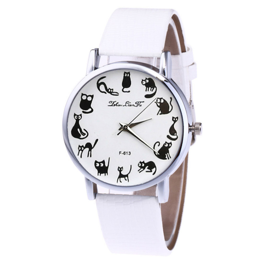 Zhoulianfa Cat Print Dial Design Women Watch Leather Belt Temperament Ladies Girl Top Brand Analog Quartz Wrist Watches Reloj #W