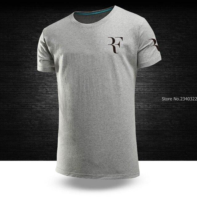 ef95a18606a5 Casual Cotton Women men Short Sleeve Summer RF roger federer T-shirt Tops  Print Couple s