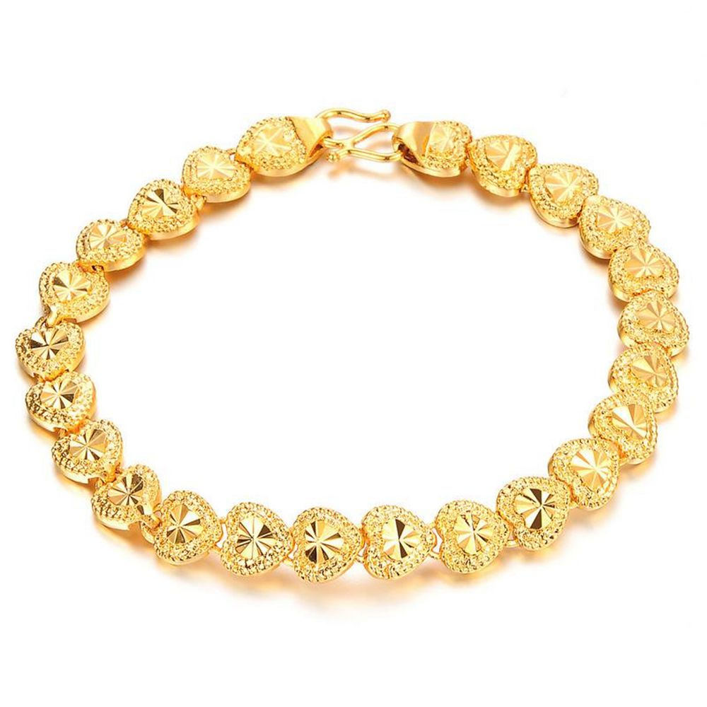 Gold Link Bracelet Womens: Womens Bracelet Carved Lovely Heart Wrist Chain Link