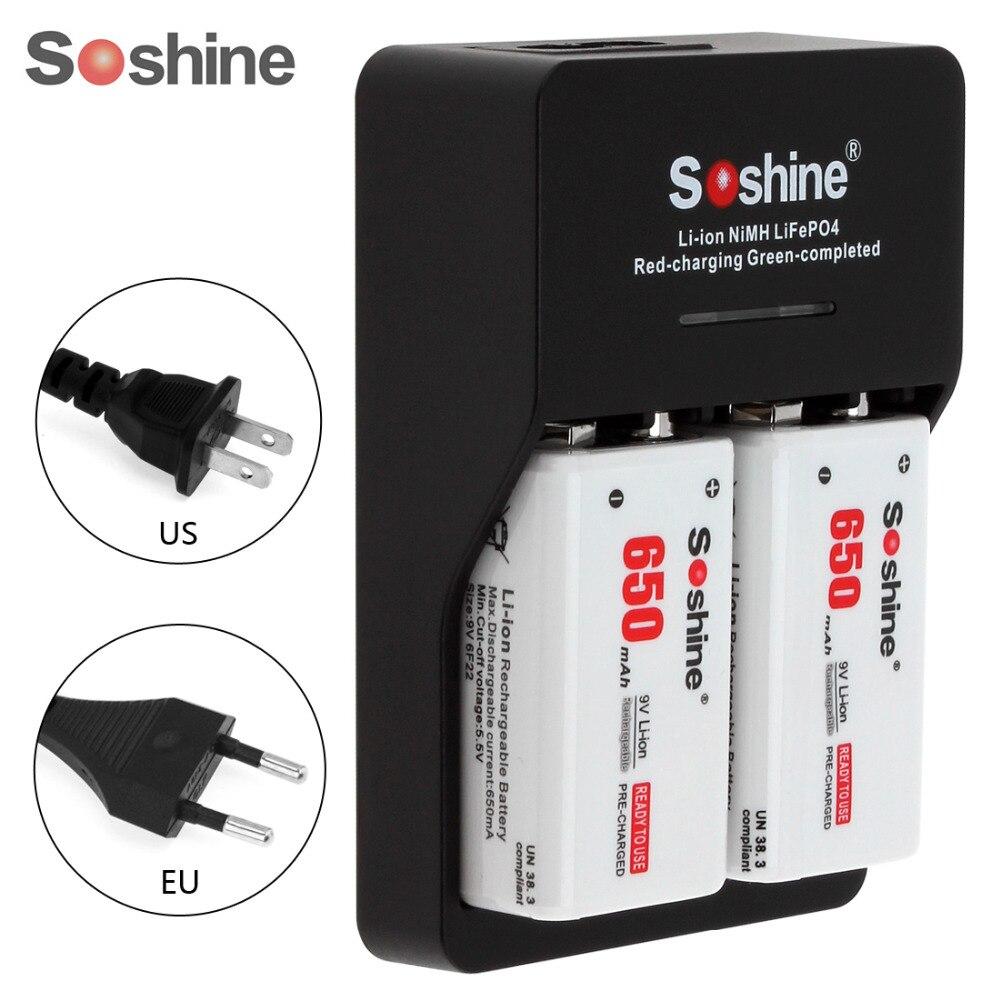 2pcs Soshine 650mAh 9V 6F22 Battery Li-ion Rechargeable Battery + Smart Intelligent 9V Battery Charger with LED Indicator