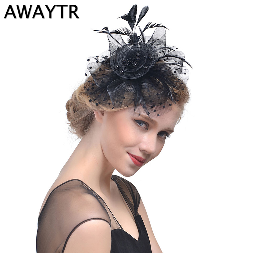 AWAYTR 2018 Women Hair Accessoires Feather Hat Headear Net Mesh Birdcage Veil Feather Fascinator Hairpin French Hat Clips Party