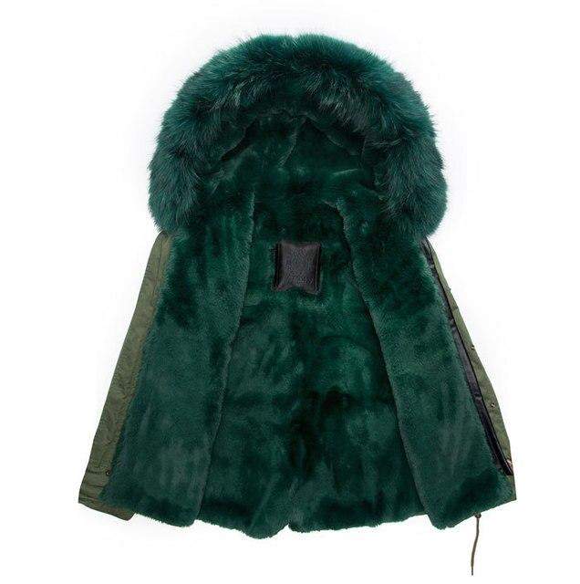 High quality real raccoon fur collar hoody coat dark green lining ...