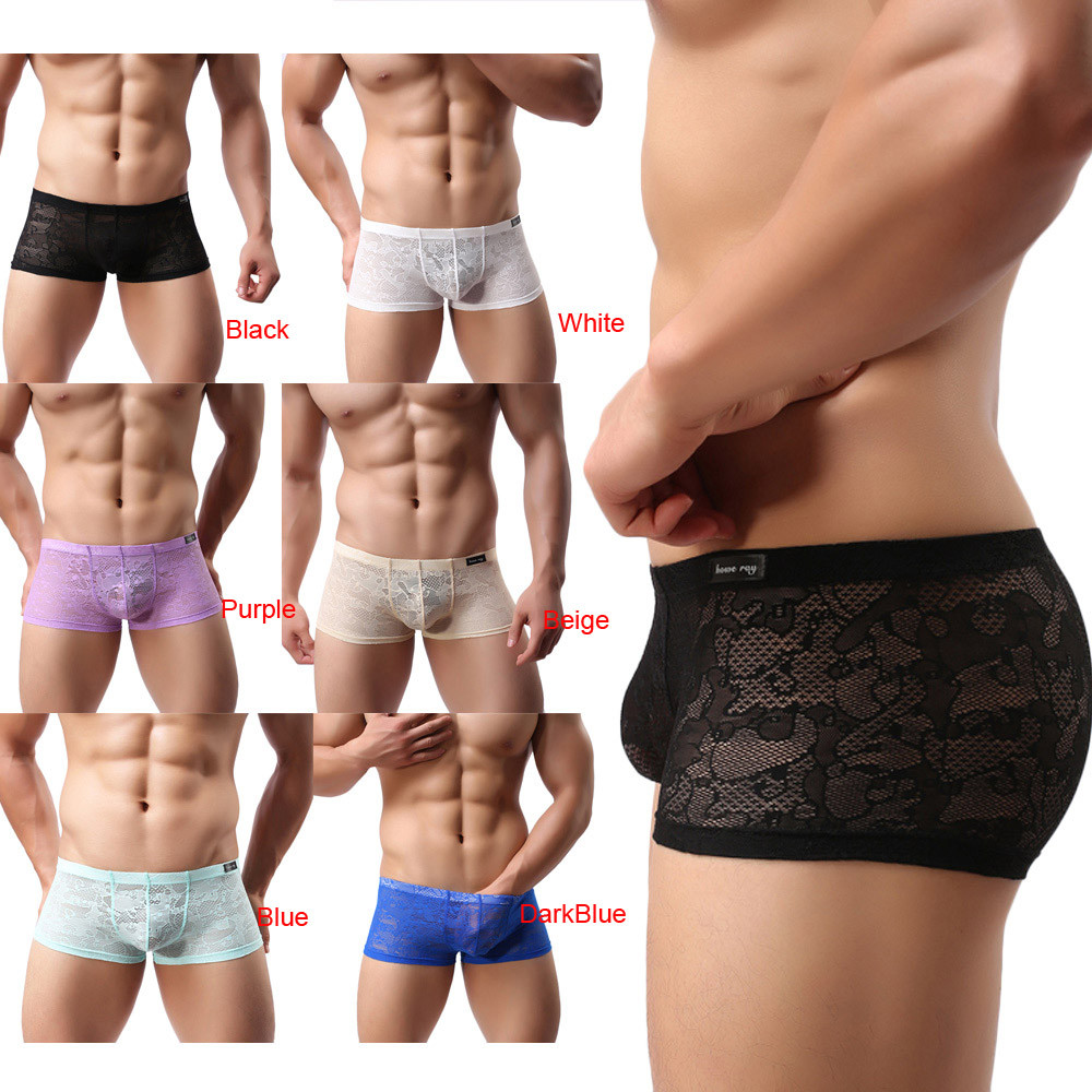 2017 New Fashion Men's Sexy Translucent Boxer Briefs Intimates Soft Lace Floral Ventilate Exotic Boxer Sexy Shorts Underpants