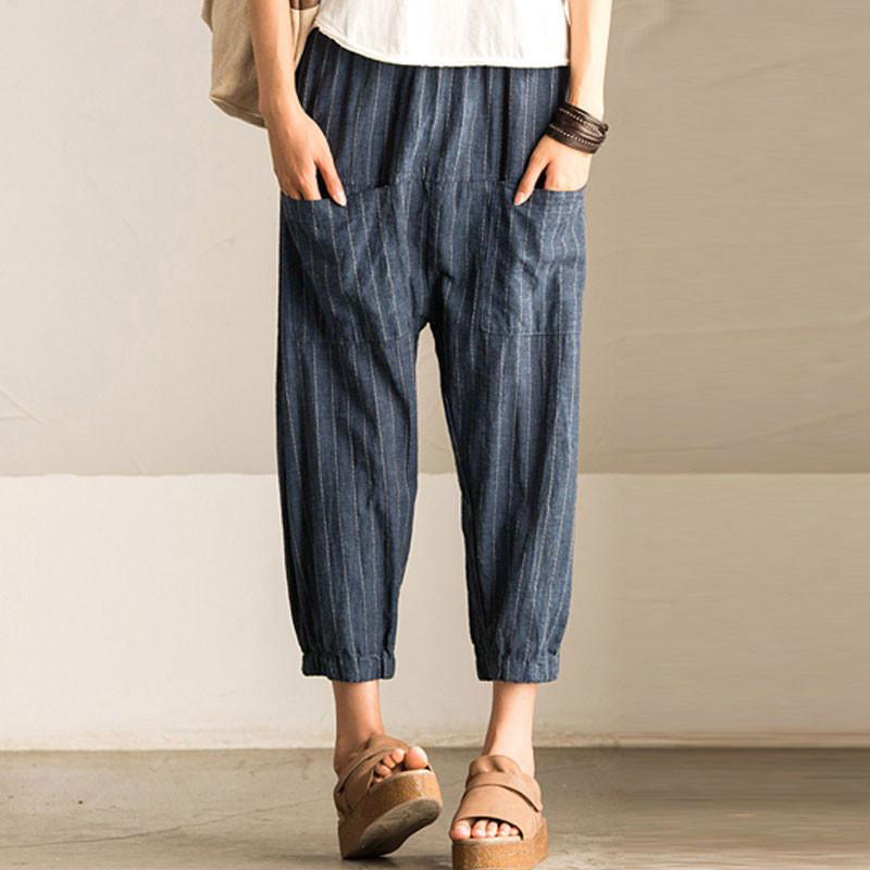 Cncool Casual Striped Harem Pants Women High Elastic Waist Pockets Baggy Turnip Trousers Retro Wide Leg Pantalon 2019 Summer New