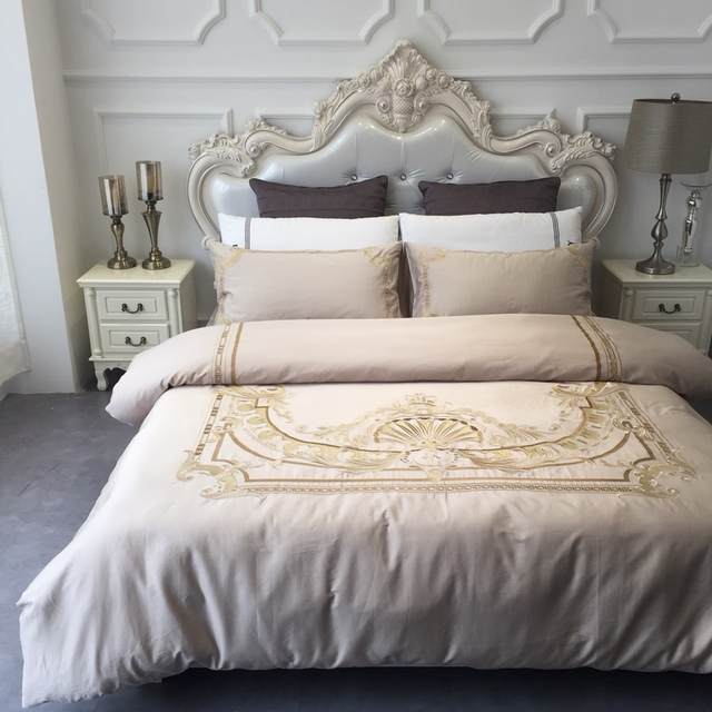 Brilliant 4 Pieces Elegant Palace Bedroom Set With Luxury Golden Embroidery Bedding Queen Size Egyptian Cotton Linens Sateen Bedsheets In Bedding Sets From Home Download Free Architecture Designs Pendunizatbritishbridgeorg