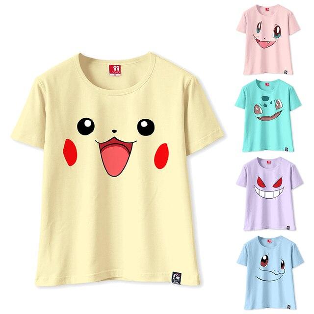 ecf09d40 2017 Kawaii Pikachu T-shirt Women Short Sleeve T shirt Funny Tops Tee  Charmander Bulbasaur Gengar Squirtle T-shirt