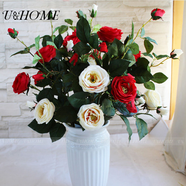 7 Heads Artificial Rose Fake Silk Flowers High Quality With Stems