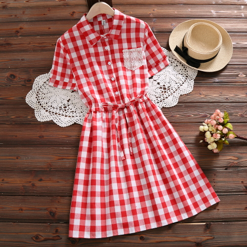 Mori Girl Summer Dress 2018 New Fashion Women Short Sleeve Plaid Cotton Dresses Red Blue Vintage Vestidos S-XXL Clothing